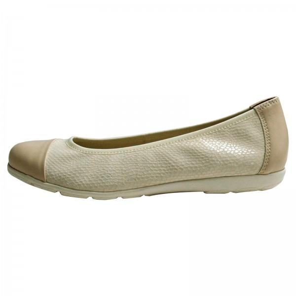 Caprice Damen Ballerina White Reptile Comp 9-9-22152-28/191, Weite G