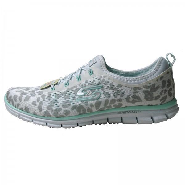 Skechers Damen Sneakers Glider-Animalistic white/aqua 22728/WAQ