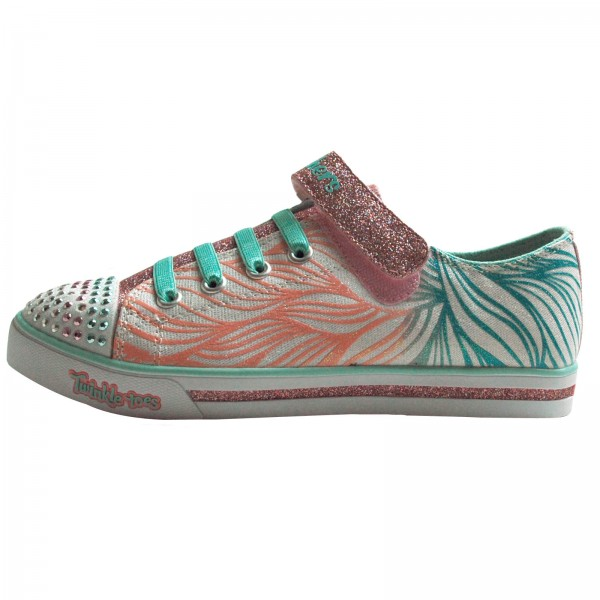 Skechers Mädchen Sneakers S S LIGHTS®-Sparkle Glitz-Shiny Spirit 10710L/WMNT, Whithe/ Mint