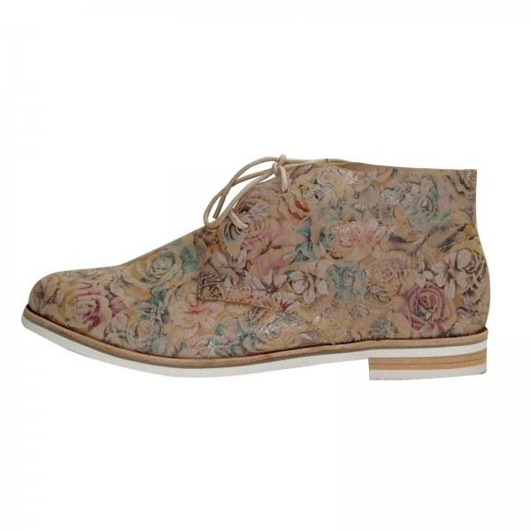 Caprice Damenstiefelette beige, mit Blumenmuster, Schuhweite G
