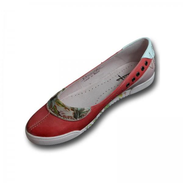 MACIEJKA Damen Ballerina, rot, florales Muster, Ziernähte, Echtleder